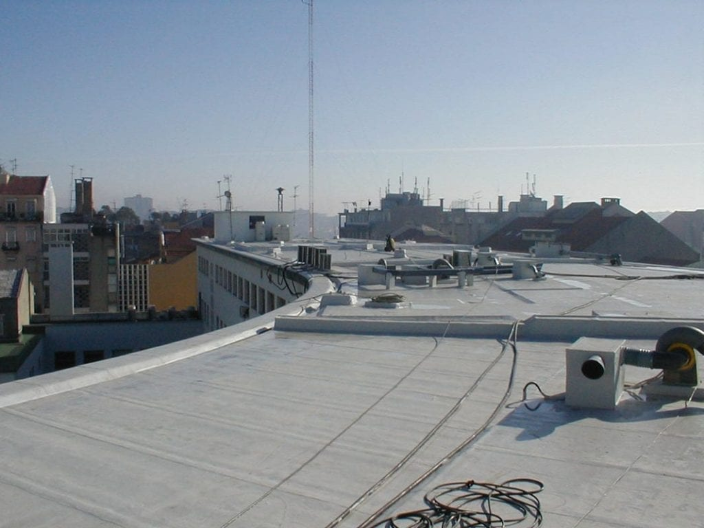 Mineral felt roof encapsulated with MaxPro 100 liquid applied roofing membrane